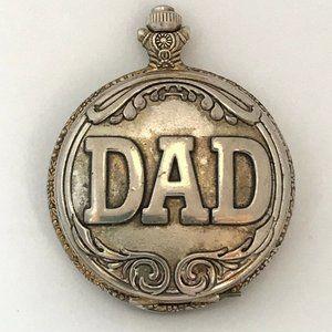 Vintage Pocket Watch Dad Silver Tone Metal Quartz